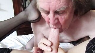 Sex with a grandpa in a black nylons
