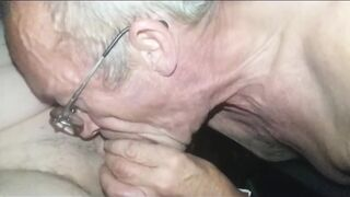 Silver grandpa swallowing the last drop