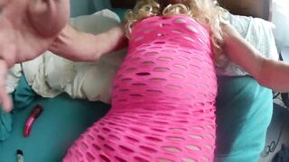 Pink dress and a big thick suprise hidden under it