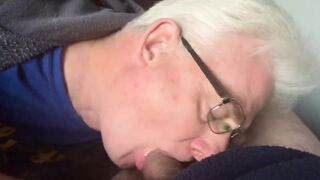 Silver grandpa swallowed every drop