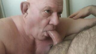 Baldy grandpa worships cock
