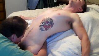 Tattooed straight guy drained