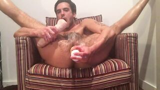 Fucking pig cunt with dildo and bottle