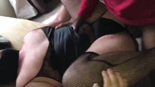 Crossdressing chub slut fucked by black bull