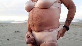 Risky beach masturbation session