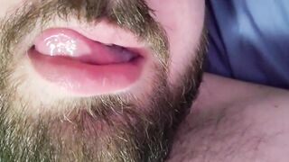 Moaning and licking lips while fucking