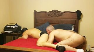 Horny daddy uses younger bareback
