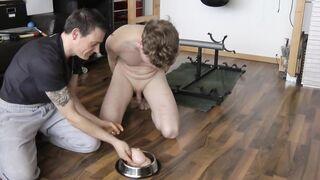 Spanking and raw bull balls tasting