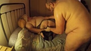 Sub slut trained by two chubs