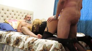 Two old, nasty daddies and sissy between them