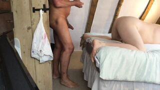 Daddy is in tight hole bareback