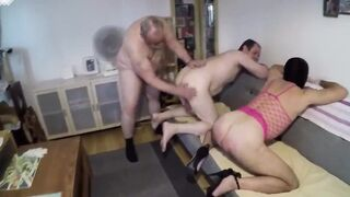 Two faggots spanked by their master