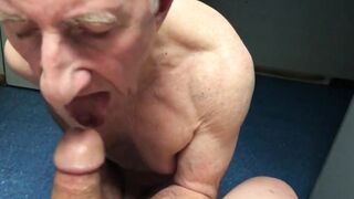 Sucking cock and getting fucked in a porn store