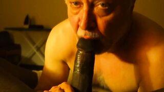 Old man sucking verbal black guy's cock