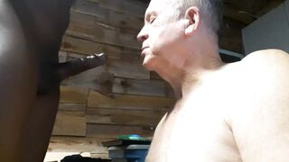 Old faggot needs a load busted on his face